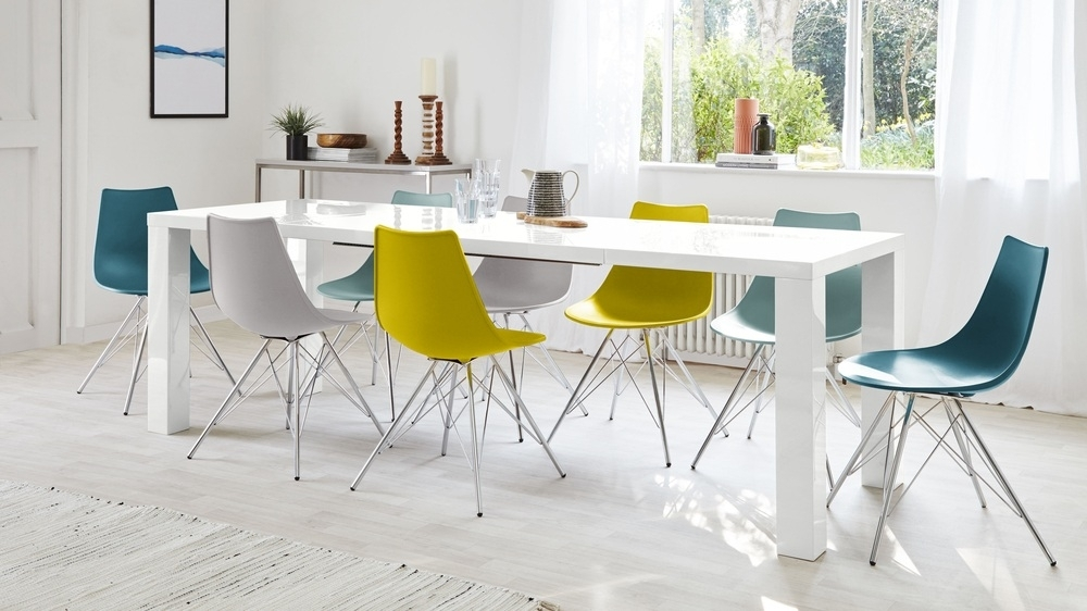 Fern White Gloss Extending Dining Table | Danetti Uk Throughout Gloss White Dining Tables And Chairs (Image 10 of 25)