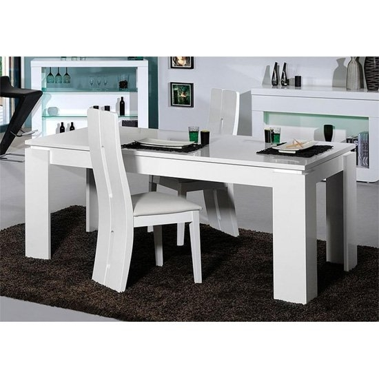 Fiesta High Gloss 6 Seater Dining Table And Chairs 19854 In High Gloss White Dining Chairs (View 25 of 25)