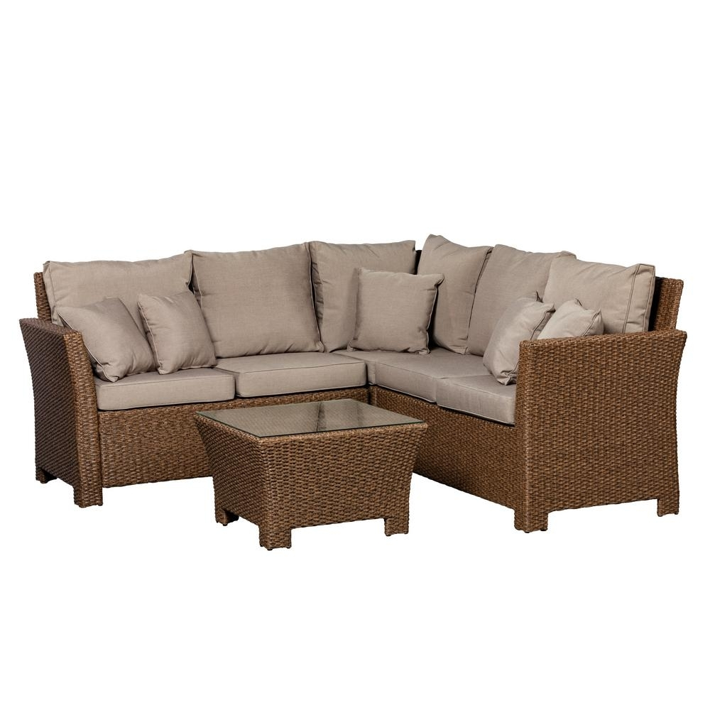 Fire Sense Jarrett Mocha 3 Piece Wicker Outdoor Sectional Set With For Haven Blue Steel 3 Piece Sectionals (Image 13 of 25)