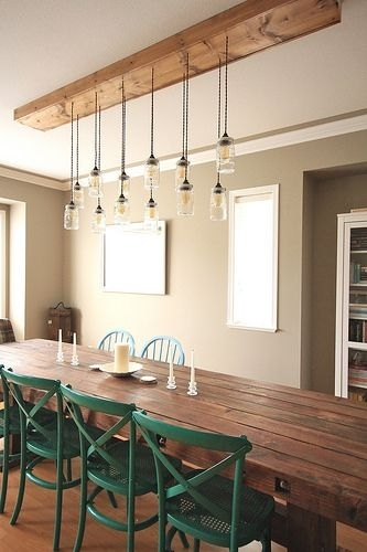 First Time Fancy Dining Room – Diy Dining Table & Light Fixture Within Dining Tables Ceiling Lights (Image 13 of 25)