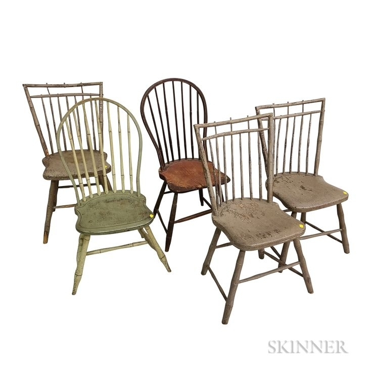 Five Painted Bamboo Turned Windsor Side Chairs | Sale Number 3173M For Combs 5 Piece 48 Inch Extension Dining Sets With Mindy Side Chairs (View 13 of 25)