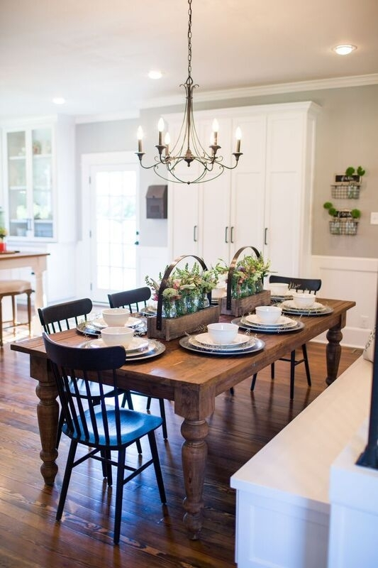Fixer Upper In 2018 | Fixer Upper – Magnolia Farms | Pinterest Inside Magnolia Home Breakfast Round Black Dining Tables (View 10 of 25)