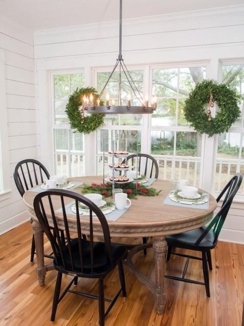 Fixer Upper: Renovation And Holiday Decor At Magnolia House Bed And With Magnolia Home Breakfast Round Black Dining Tables (View 3 of 25)
