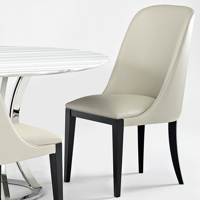 Flamingo Designer Cream Leather Dining Chair – Robson Furniture Throughout Cream Leather Dining Chairs (Image 14 of 25)