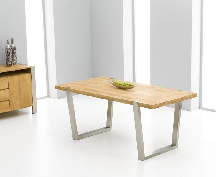 Flavia Oak & Brushed Steel Dining Table – 180Cm | Dining Table Pertaining To Brushed Steel Dining Tables (Image 10 of 25)