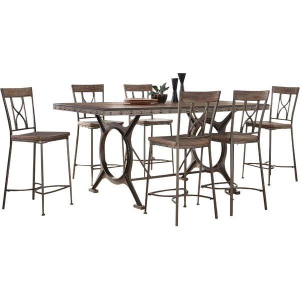 Fleur De Lis Living Barlow 7 Piece Count Height Dining Set | Wayfair With Caira Black 7 Piece Dining Sets With Upholstered Side Chairs (Image 10 of 25)