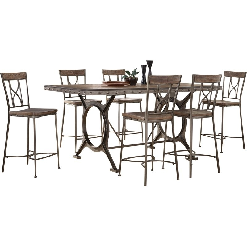 Fleur De Lis Living Barlow 7 Piece Count Height Dining Set | Wayfair Within Caira 7 Piece Rectangular Dining Sets With Upholstered Side Chairs (View 11 of 25)