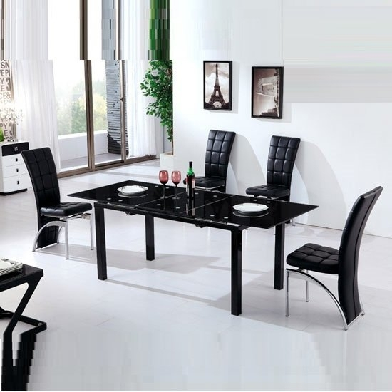Florence Extending Black Glass Dining Table With 6 Ravenna With Regard To Dining Tables Black Glass (Image 15 of 25)