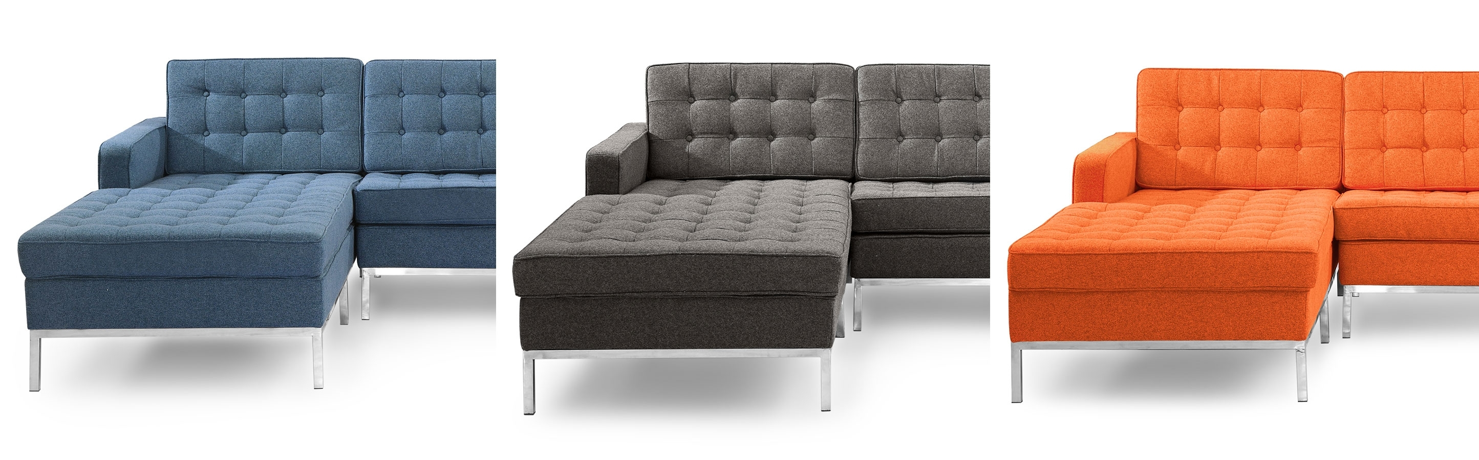 Florence Knoll Style Chaise Sectional Left And Right Facing Leather Throughout Nico Grey Sectionals With Left Facing Storage Chaise (Image 8 of 25)