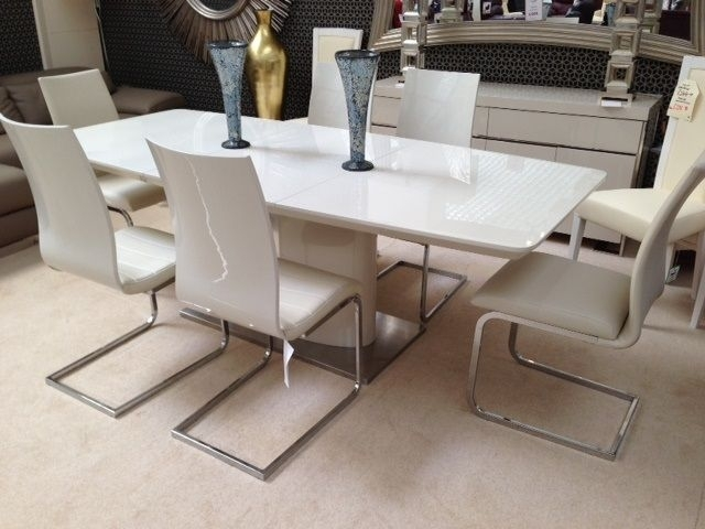 Floris Extending Dining Table Cream |First Furniture within High Gloss Cream Dining Tables