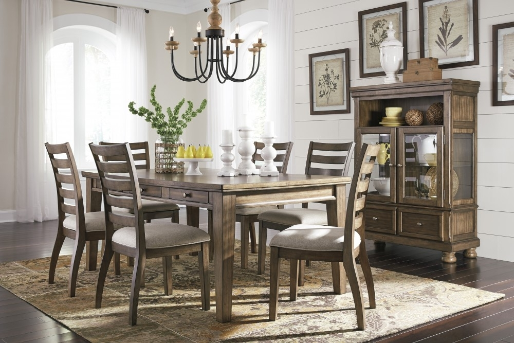 Flynnter – Rectangular Dining Room Table & 6 Uph Side Chairs | D719 Pertaining To Market 6 Piece Dining Sets With Side Chairs (Image 13 of 25)