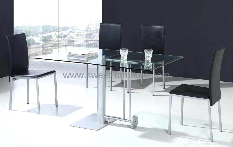 Foldable Dining Set 5Pcs Modern Japanese Style Table And Chair Asian Throughout Glass Folding Dining Tables (Image 10 of 25)