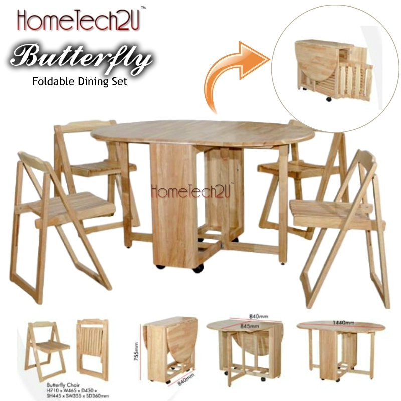 Foldable Dining Table And 4 Folding C (End 6/3/2019 8:15 Pm) For Oval Folding Dining Tables (Image 7 of 25)