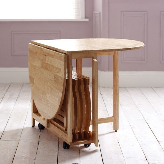 Folding Dining Table On Wheels + Foldable Chairs That Fit In Centre Pertaining To Compact Folding Dining Tables And Chairs (Image 12 of 25)