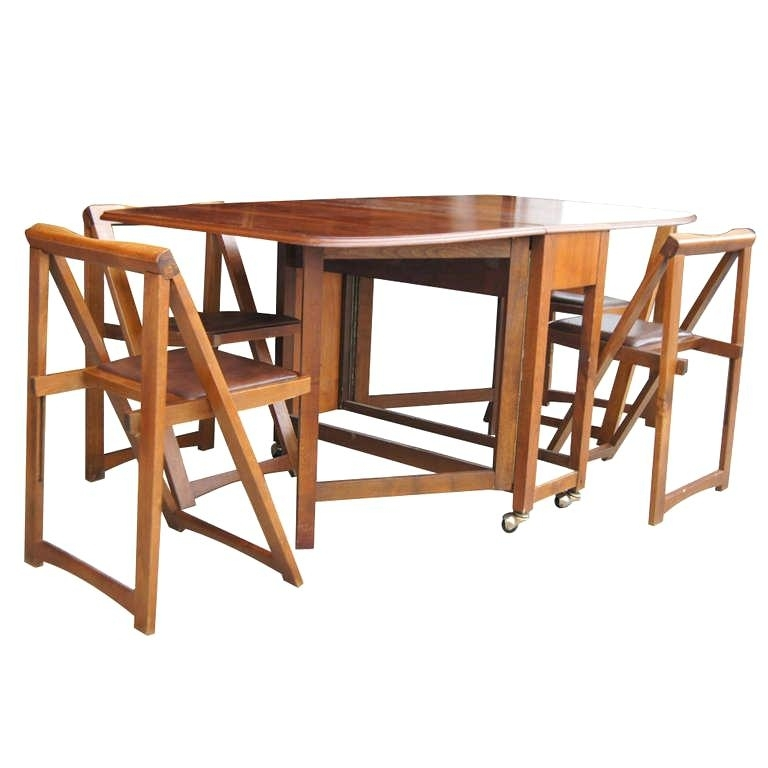 Folding Dining Table With Chair Storage Table With Chair Storage Within Folding Dining Table And Chairs Sets (Image 13 of 25)