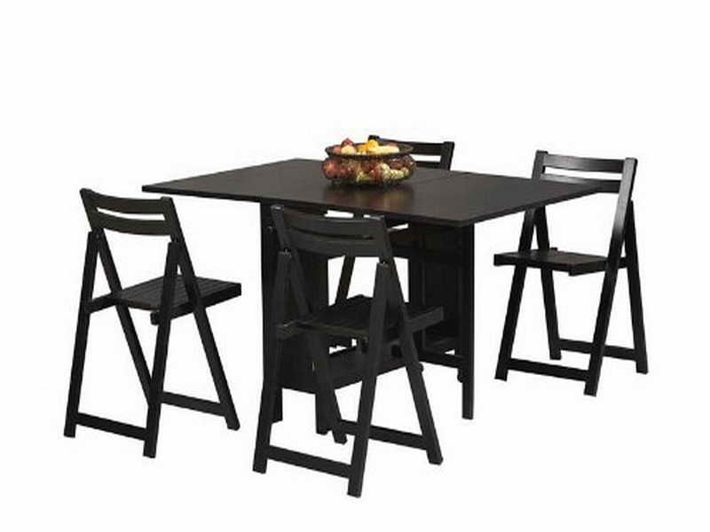 Folding Table And Chair Set Black — Inspire Furniture Ideas For Black Folding Dining Tables And Chairs (Image 18 of 25)