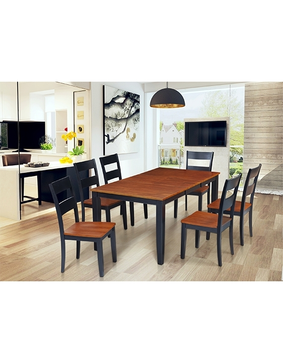 Folsom Set Of 7 Fullerton Cherry Wood Seat Dining Chair | Trithi In Portland 78 Inch Dining Tables (Image 9 of 25)
