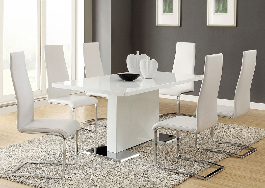 Foothills Family Furniture Nameth White Dining Table W/4 Side Chairs Regarding Craftsman 5 Piece Round Dining Sets With Side Chairs (View 17 of 25)