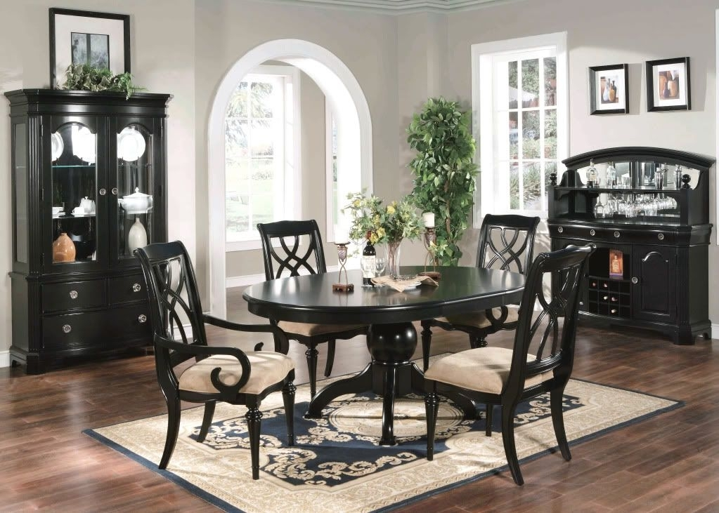 Formal Dining Room 6 Piece Set Oval Table Chairs Black | Home Is Within Caira Black 5 Piece Round Dining Sets With Diamond Back Side Chairs (Image 10 of 25)