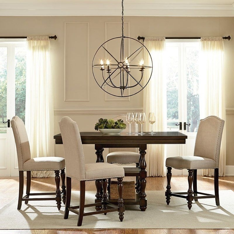 Foster 5 Piece Dining Set | Upholstered Stool, Cherry Finish And Pub Set With Caira Black 5 Piece Round Dining Sets With Upholstered Side Chairs (Image 14 of 25)