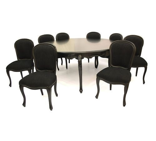 French Black Family 8 Seater Dining Table & Chairs Designer Stylish Pertaining To Black 8 Seater Dining Tables (Image 16 of 25)