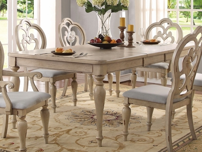 French Country Dining Table Set | White Wood Dining Room Table Within Country Dining Tables (View 2 of 25)