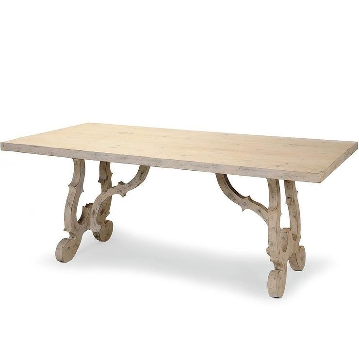 French Country Scroll Leg Long Dining Table For Java Dining Tables (View 7 of 25)
