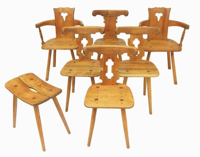 French Dining Chairs, 1960S, Set Of 7 For Sale At Pamono With Kirsten 5 Piece Dining Sets (View 24 of 25)