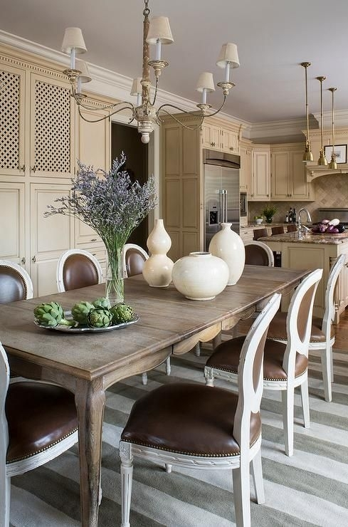 French Dining Table With Cabriolet Legs And Round Back Dining Chairs Regarding Norwood 7 Piece Rectangular Extension Dining Sets With Bench, Host & Side Chairs (Image 8 of 25)