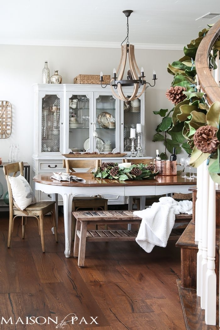 French Farmhouse Christmas Dining Room | Christmas Home Tours In French Farmhouse Dining Tables (Image 11 of 25)