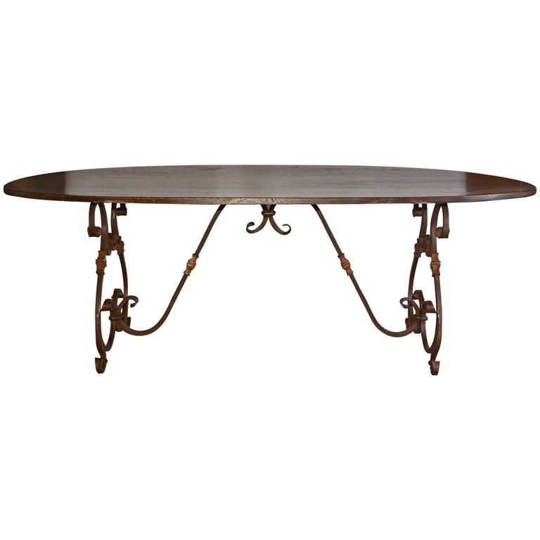 French Inspired Metal Base Oval Dining Table For Sale At 1Stdibs With Oval Dining Tables For Sale (Image 9 of 25)