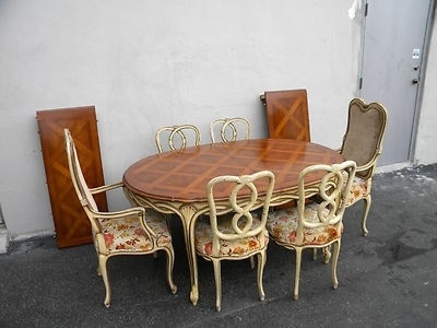French Painted Parquet Dining Table With 6 Chairs & 2 Leaves For Parquet 6 Piece Dining Sets (View 21 of 25)