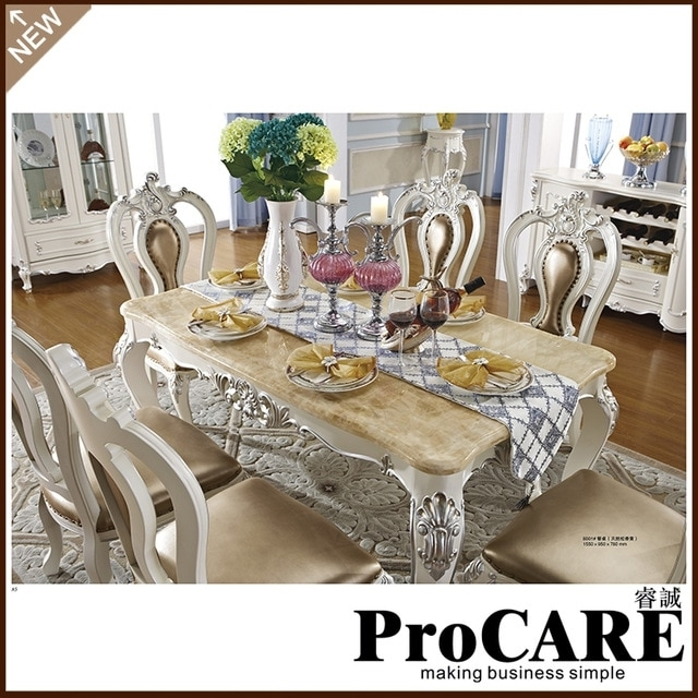 French Royal Style Wood Furniture Marble Dining Table Set For Sale For Marble Dining Tables Sets (Image 12 of 25)