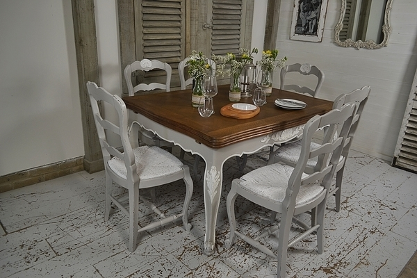 French Shabby Chic Extending Dining Set | Tables | The Treasure In Shabby Chic Extendable Dining Tables (Image 5 of 25)