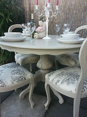 French Shabby Chic Louis Dining Table And Balloon Back Chairs For Shabby Chic Dining Chairs (View 17 of 25)