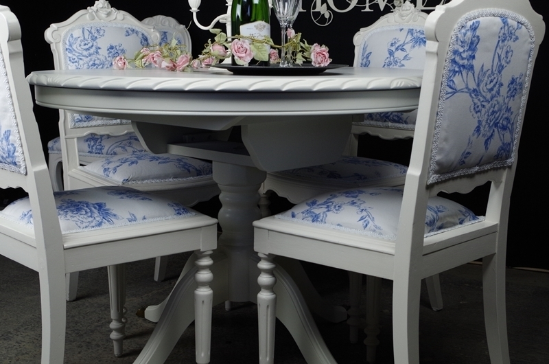 French Style Extending Dining Table With 4 Antique And 2 Vintage Pertaining To French Extending Dining Tables (View 18 of 25)