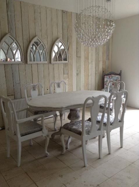 French Style Shabby Chic Dining Table & 6 Chairs Brand New Silver Within French Chic Dining Tables (Image 13 of 25)