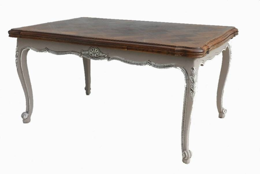 French Vintage Extending Dining Table Louis Xv Rev Painted Oak In Throughout Retro Extending Dining Tables (Image 12 of 25)