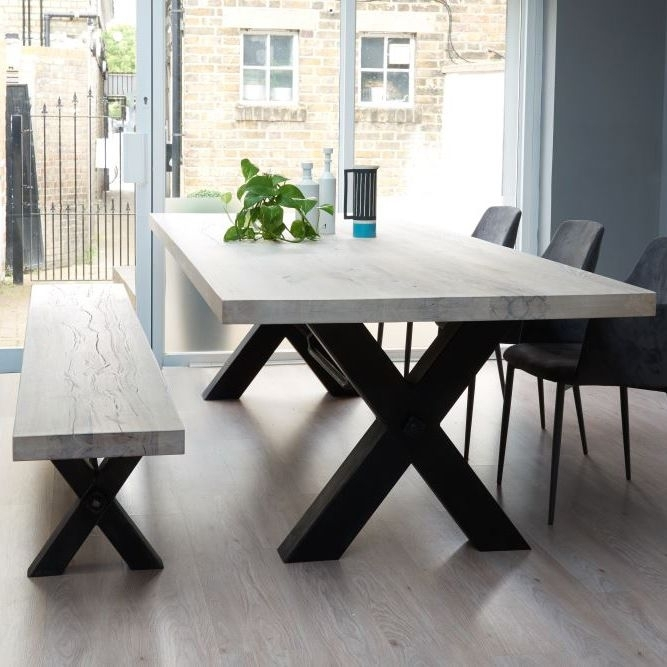 From Stock: Rustik Wood & Metal Dining Table, Cross Frame Leg In Pertaining To Solid Oak Dining Tables (Image 12 of 25)
