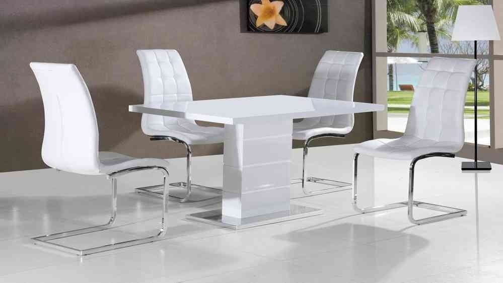 Full White High Gloss Dining Table And 4 Chairs – Homegenies Intended For Cheap White High Gloss Dining Tables (Image 7 of 25)
