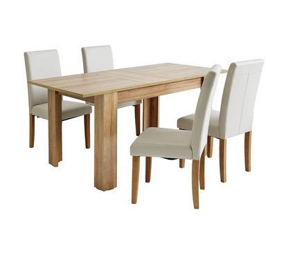 Fully Assembled Miami Extendable Dining Table & 4 Chairs – Cream Within Extendable Dining Table And 4 Chairs (View 21 of 25)