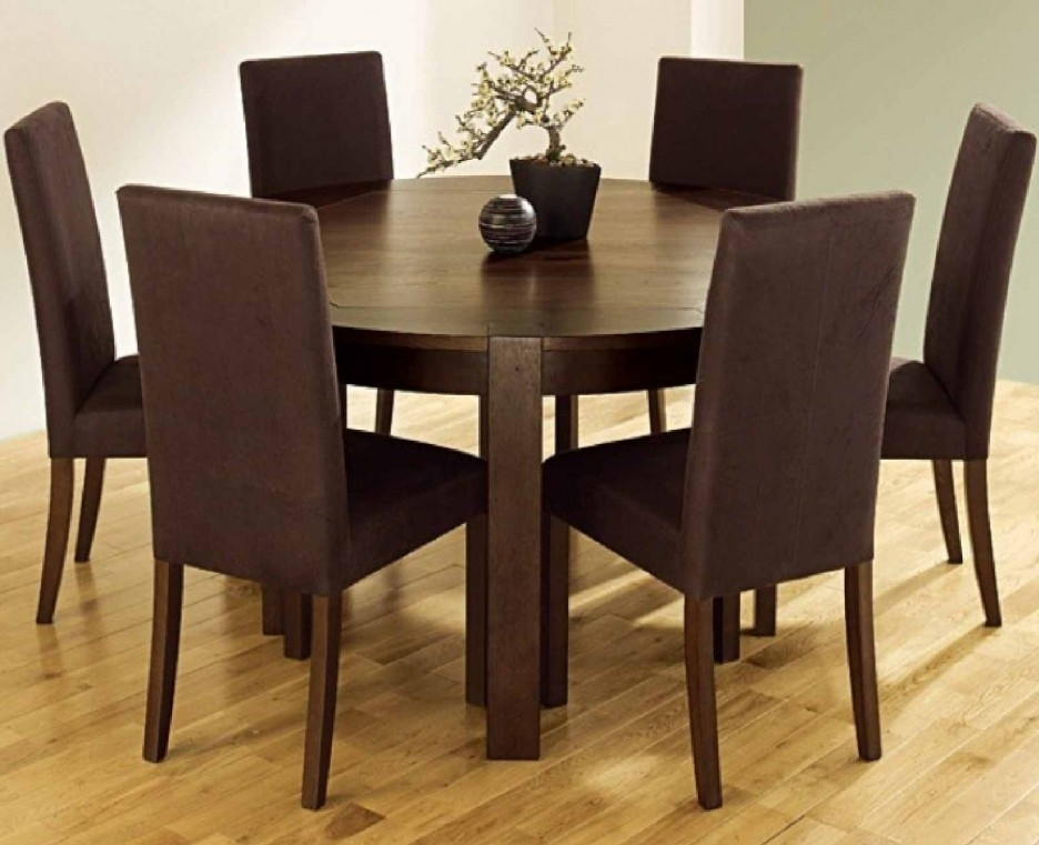 Funky Hunky Cappuccino Color 7 Pieces Furniture Dining Set With In Parquet 7 Piece Dining Sets (View 6 of 25)