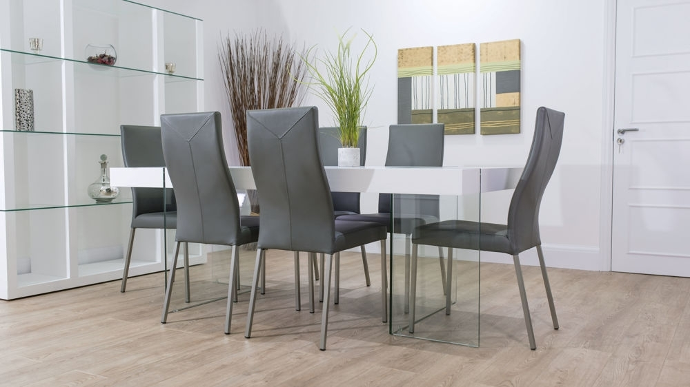 Funky Modern White Oak And Glass Dining Table And Real Leather Chairs Inside Glass Dining Tables White Chairs (Image 11 of 25)