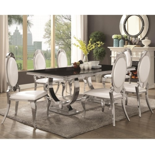 Furniture : Antoine Stainless Steel Dining Table With Glass Top Intended For Glass And Stainless Steel Dining Tables (Image 9 of 25)