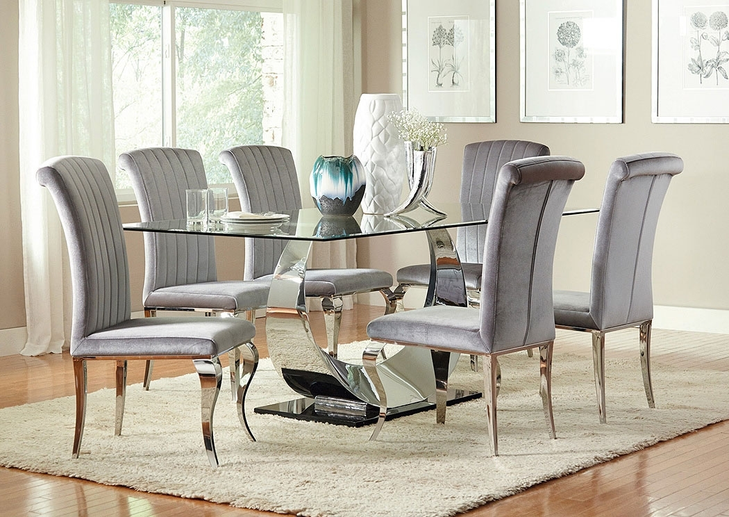 Furniture Corner Ca Chrome Plated Dining Table W/4 Side Chairs Throughout Chrome Dining Room Sets (Image 10 of 25)