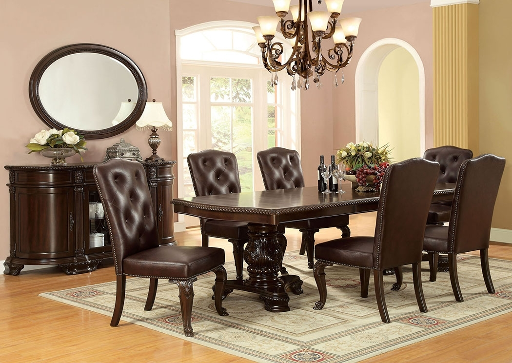 Furniture Discounter Bellagio Extension Dining Table W/6 Leatherette In Craftsman 7 Piece Rectangle Extension Dining Sets With Side Chairs (View 22 of 25)