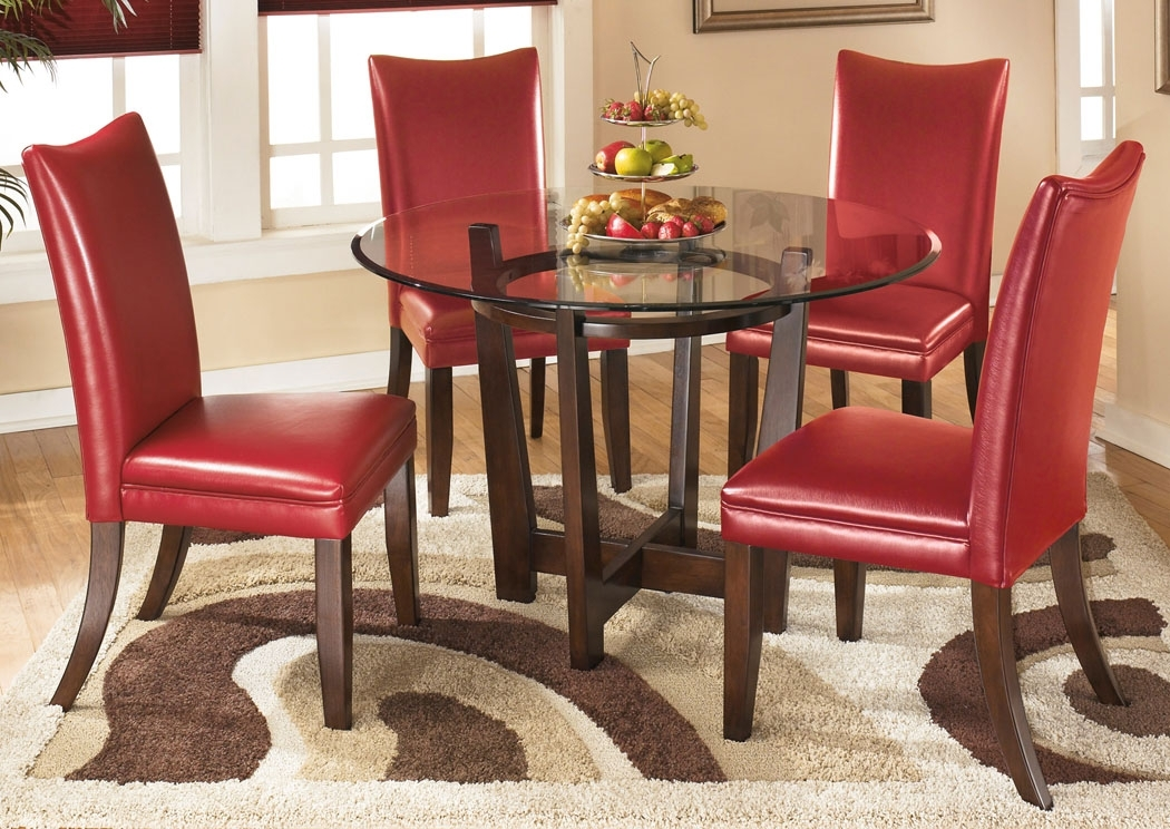 Furniture Exchange Charell Round Dining Table W/4 Red Side Chairs Throughout Craftsman 5 Piece Round Dining Sets With Uph Side Chairs (Image 13 of 25)