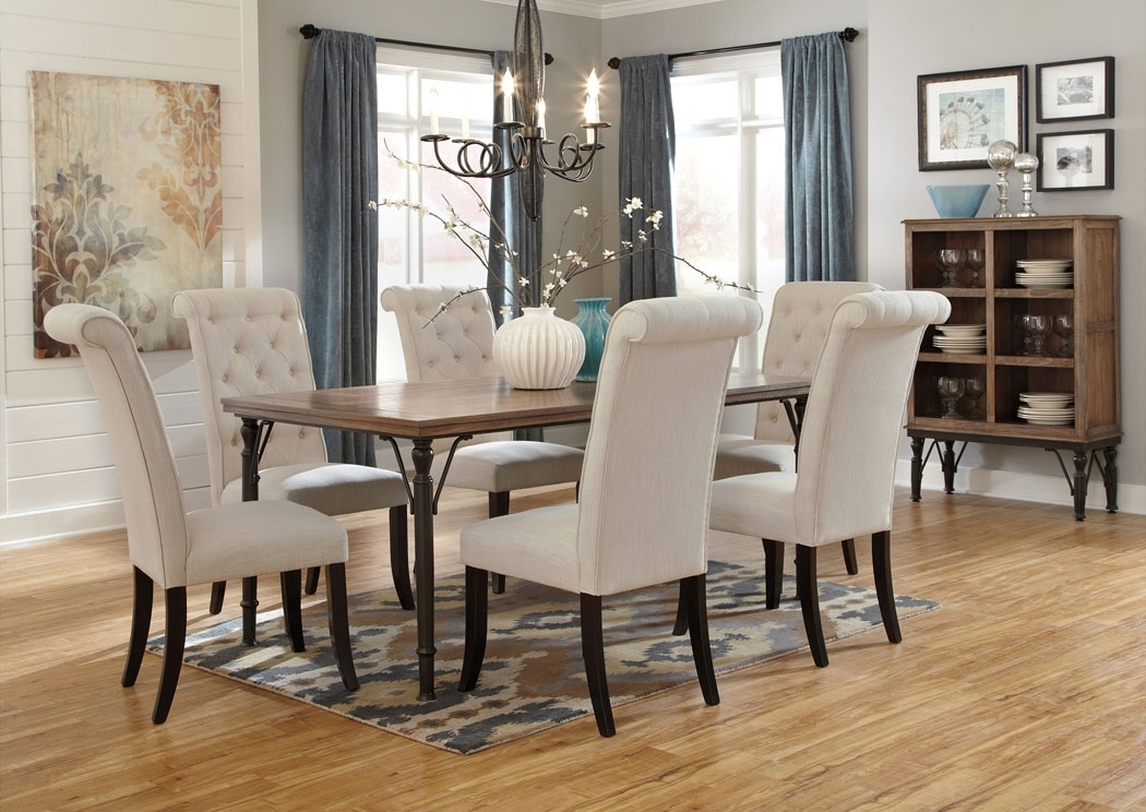 Furniture Exchange Tripton Rectangular Dining Table W/6 Side Chairs Inside Craftsman 5 Piece Round Dining Sets With Uph Side Chairs (View 16 of 25)