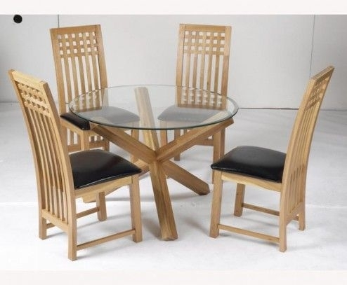 Furniture, Malmo Small Round Glass Top Natural Solid Oak Veneer 2 In Small 4 Seater Dining Tables (Image 13 of 25)