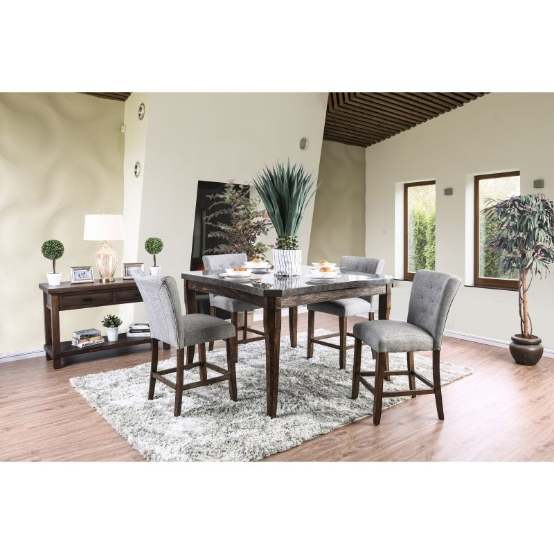 Furniture Of America Atticus 7 Piece Counter Height Table Set In Pertaining To Norwood 9 Piece Rectangular Extension Dining Sets With Uph Side Chairs (Image 5 of 25)